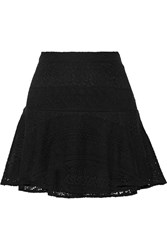 Joie Terina Crocheted Cotton Blend Mini Skirt Black