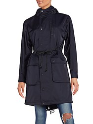 Atm Anthony Thomas Melillo Solid Drawstring Waist Parka Navy
