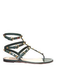 Valentino Rockstud Rolling Leather Flat Sandals Dark Green
