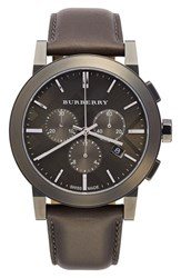 Burberry Men's Check Stamped Chronograph Leather Strap Watch 42Mm