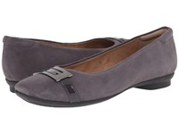 Clarks Candra Glare Purple Grey Suede Women's Slip On Dress Shoes Gray