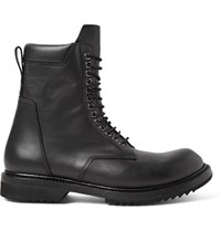 Rick Owens Leather Lace Up Boots Black