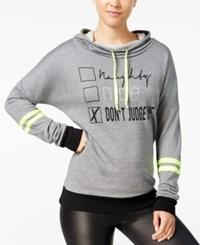 Material Girl Active Juniors' Graphic Hoodie Only At Macy's Heather Charcoal