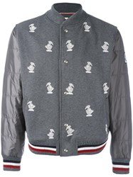 Moncler Gamme Bleu Duck Embroidered Bomber Jacket Grey
