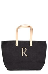 Cathy's Concepts 'Nantucket' Personalized Jute Tote Black Black R