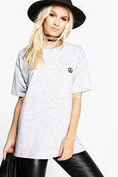 Boohoo Heidi Peace Sign Tee Grey