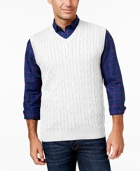 Club Room Men's Big And Tall Cable Knit Sweater Vest Bright White