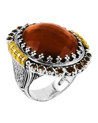 Konstantino Sterling Silver And 18 Karat Gold Cognac And Citrine Ring Size 7