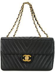 Chanel Vintage V Stitch Shoulder Bag Black
