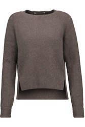 Jason Wu Ribbed Stretch Cashmere Blend Sweater Chocolate