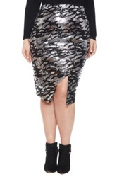 Eloquii Studio Zebra Sequin Wrap Skirt Plus Size Black