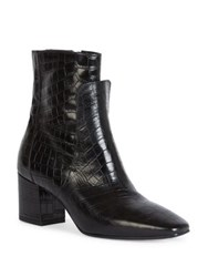 Givenchy Paris Line Croc Embossed Patent Leather Block Heel Booties Black