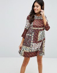 Love And Other Things Mixed Print Shift Dress Red Wine