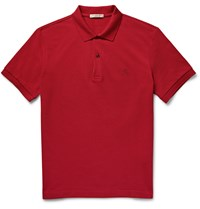 Burberry Slim Fit Cotton Pique Polo Shirt Burgundy