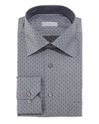 Stefano Ricci Small Diamond Pattern Dress Shirt Gray