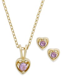Lily Nily Children's 18K Gold Over Sterling Silver Necklace And Earrings Set February Birthstone Amethyst Heart Pendant And Stud Earrings Set 1 5 Ct. T.W.