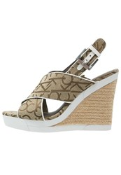 Calvin Klein Jeans Elaine Wedge Sandals Khaki White