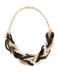 Lydell Nyc Tri Tone Beaded Torsade Necklace Multi