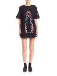 Free People Perfectly Victorian Embroidered Mini Dress Black Bluebird