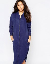Native Youth Longline Zip Bomber Dress Blue