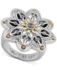 Lucky Brand Two Tone Flower Statement Ring Silver Gold