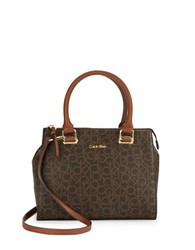 Calvin Klein Faux Leather Monogram Dome Satchel Brown