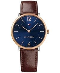 Tommy Hilfiger Men's Sophisticated Sport Brown Leather Strap Watch 40Mm 1710354
