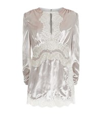 Alessandra Rich Velvet And Lace Babydoll Dress Female Silver