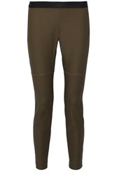 10 Crosby By Derek Lam Stretch Cotton Leggings Green