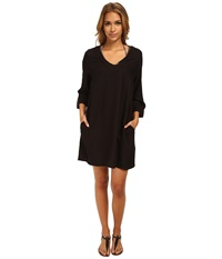 Vince Camuto Collins Luxe Tunic Cover Up Ebony Women's Swimwear Black