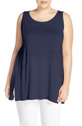 Plus Size Women's Sejour Side Slit Linen Knit Tunic Tank