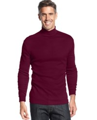 John Ashford Long Sleeve Mock Neck Solid Interlock Shirt Cherry Wine