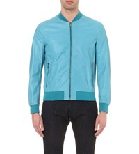 Salvatore Ferragamo Zip Up Leather Bomber Jacket Blue