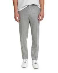 Brunello Cucinelli Flat Front Wool Trousers Light Gray Light Grey