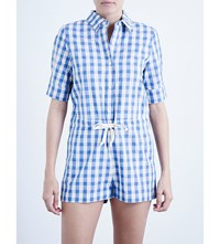 Solid And Striped Gingham Cotton And Linen Blend Playsuit Blue Gingham