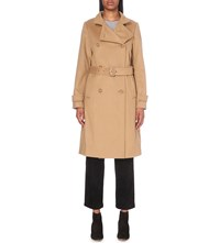 Vince Double Breasted Wool And Cashmere Trench Coat Camel