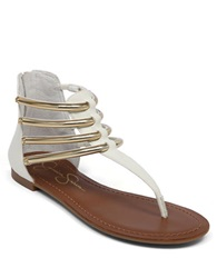 Jessica Simpson Gionara Synthetic Strappy Thong Sandals White