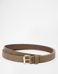 Asos Skinny Belt In Brown Faux Leather