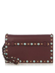Valentino Rockstud Rolling Leather Clutch Burgundy