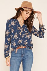 Forever 21 Floral Button Front Blouse
