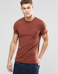 Asos Muscle T Shirt With Crew Neck In Red Burnt Umber