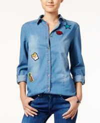 Say What Juniors' Chambray Shirt With Patches Medium Wash
