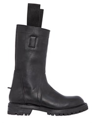Rick Owens Leather Biker Boots With Pull Loops