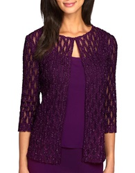 Alex Evenings Plus 2 Piece Cardigan And Tank Set Eggplant