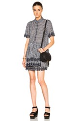 Suno Scalloped Shirt Dress In Checkered And Plaid Blue