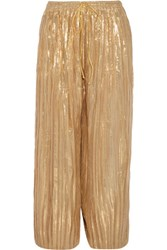 Adam By Adam Lippes Cropped Plisse Silk Blend Lame Wide Leg Pants Gold