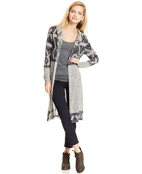 Almost Famous Juniors' Aztec Hooded Duster Cardigan Heather Grey Blue