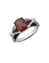 Lord And Taylor Sterling Silver Ring With Garnet And White Topaz Garnet Silver