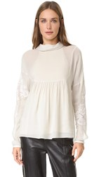 Tibi Anai Embroidered Blouse Tusk