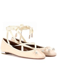 Aquazzura Very Ballerina Flat Lace Up Leather Ballerinas Beige